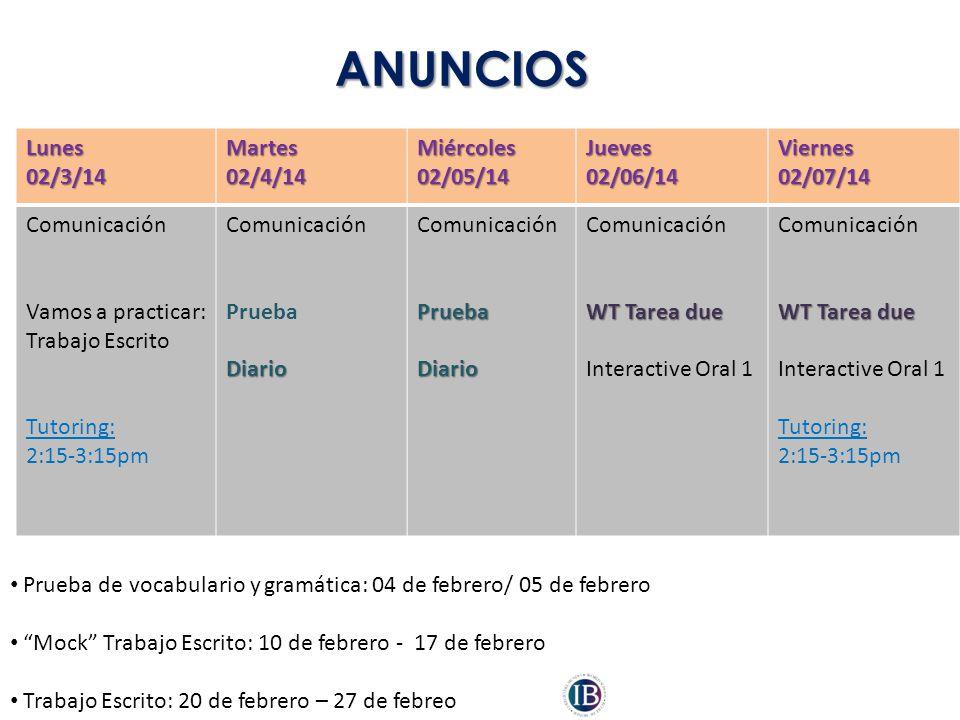 ANUNCIOS Lunes 02/3/14 Martes 02/4/14 Miércoles 02/05/14 Jueves