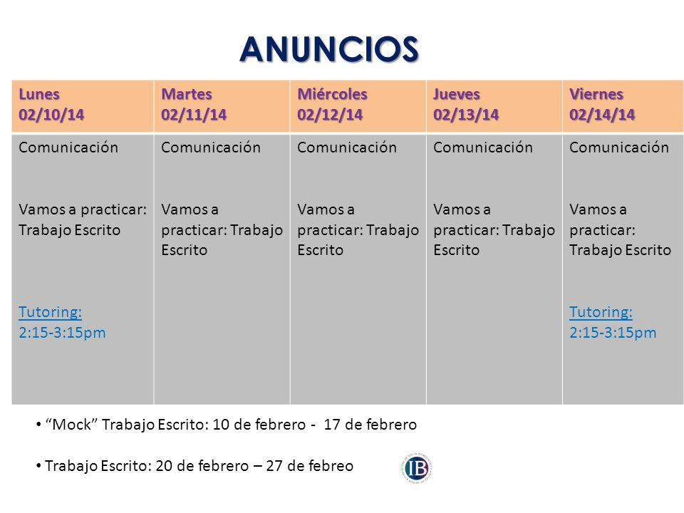 ANUNCIOS Lunes 02/10/14 Martes 02/11/14 Miércoles 02/12/14 Jueves