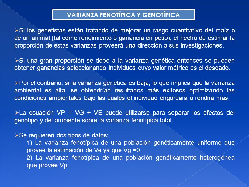 VARIANZA FENOTÍPICA Y GENOTÍPICA