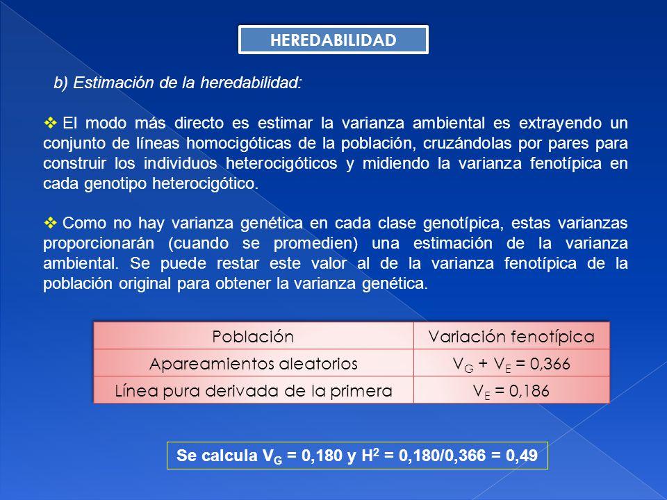 b) Estimación de la heredabilidad: