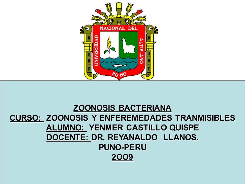 CURSO: ZOONOSIS Y ENFEREMEDADES TRANMISIBLES