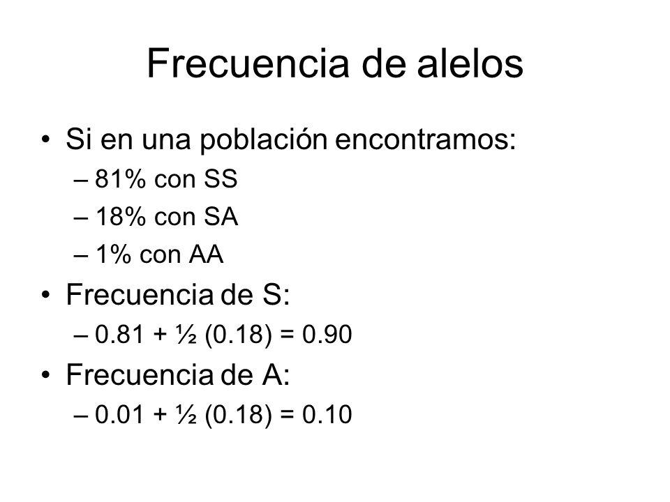 Frecuencia de alelos Si en una población encontramos: Frecuencia de S:
