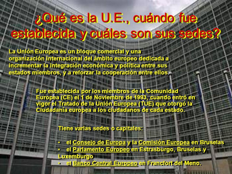 ¿Qué es la U.E., cuándo fue establecida y cuáles son sus sedes