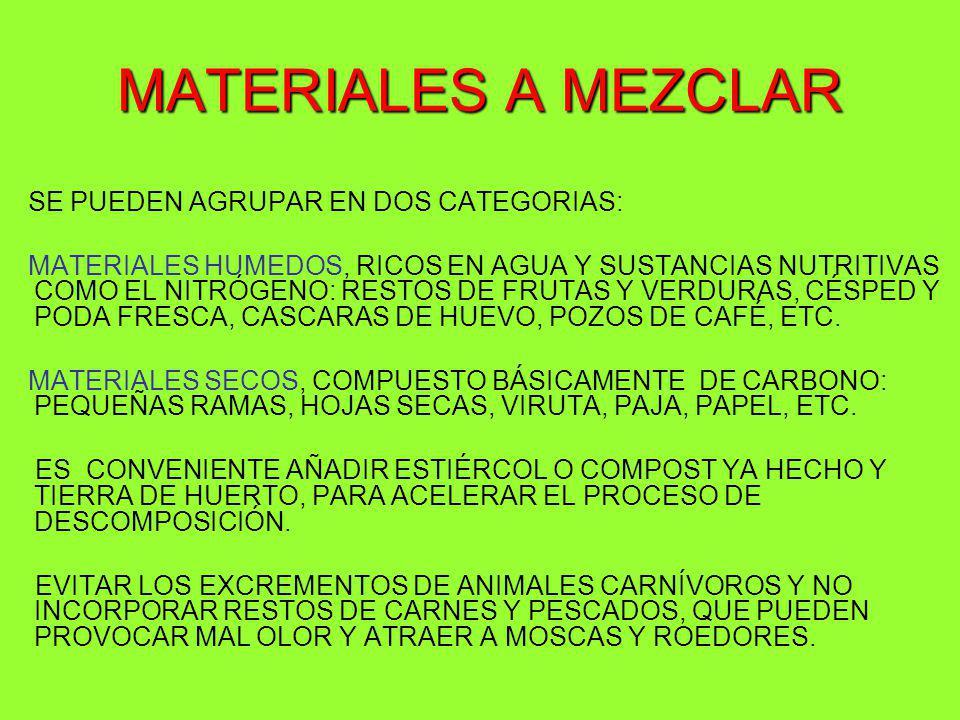 MATERIALES A MEZCLAR SE PUEDEN AGRUPAR EN DOS CATEGORIAS: