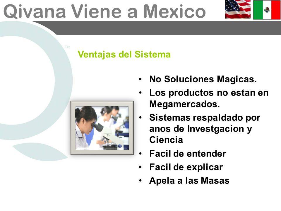 Ventajas del SistemaNo Soluciones Magicas. Los productos no estan en Megamercados. Sistemas respaldado por anos de Investgacion y Ciencia.