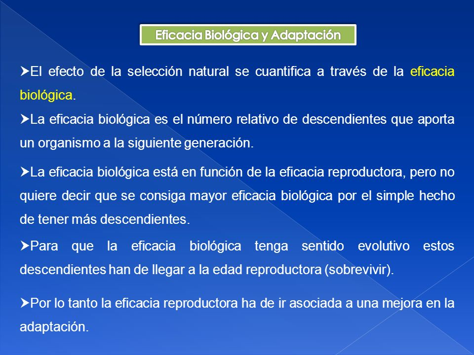 Eficacia Biológica y Adaptación