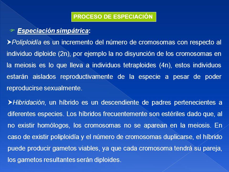  Especiación simpátrica: