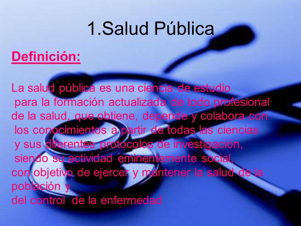 1.Salud Pública Definición: La salud pública es una ciencia de estudio