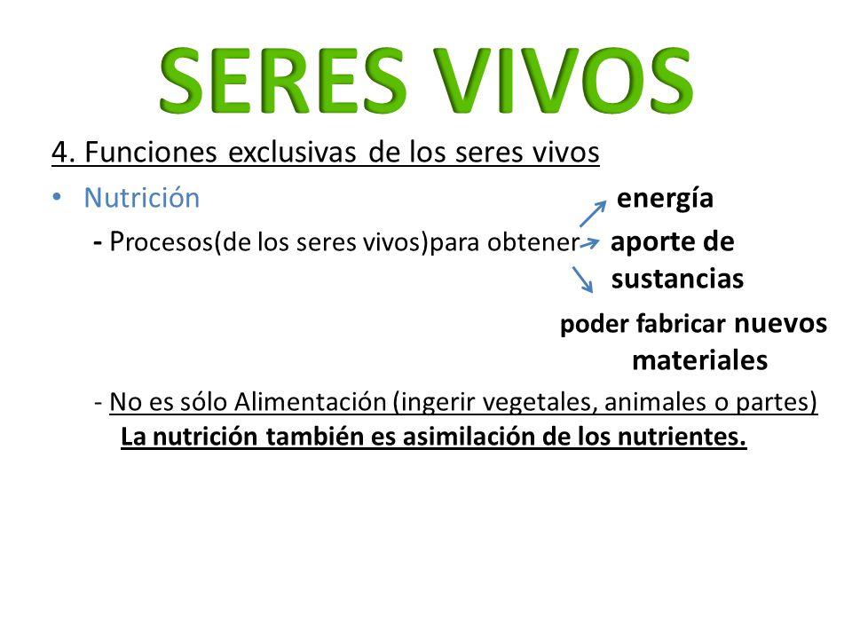 SERES VIVOS 4. Funciones exclusivas de los seres vivos