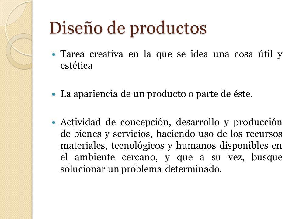 Diseño de productos Tarea creativa en la que se idea una cosa útil y estética. La apariencia de un producto o parte de éste.