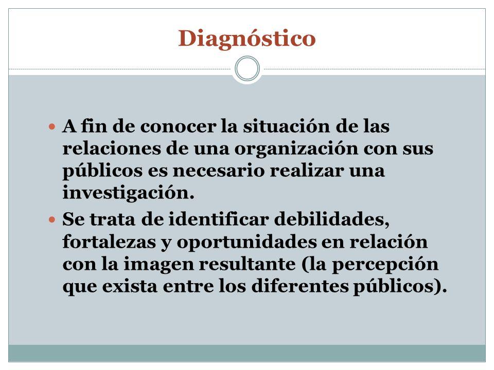 DiagnósticoA fin de conocer la situación de las relaciones de una organización con sus públicos es necesario realizar una investigación.