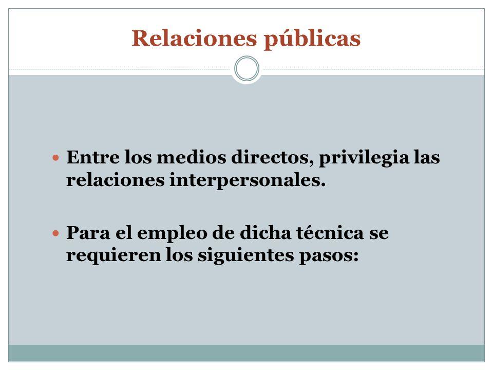 Relaciones públicasEntre los medios directos, privilegia las relaciones interpersonales.