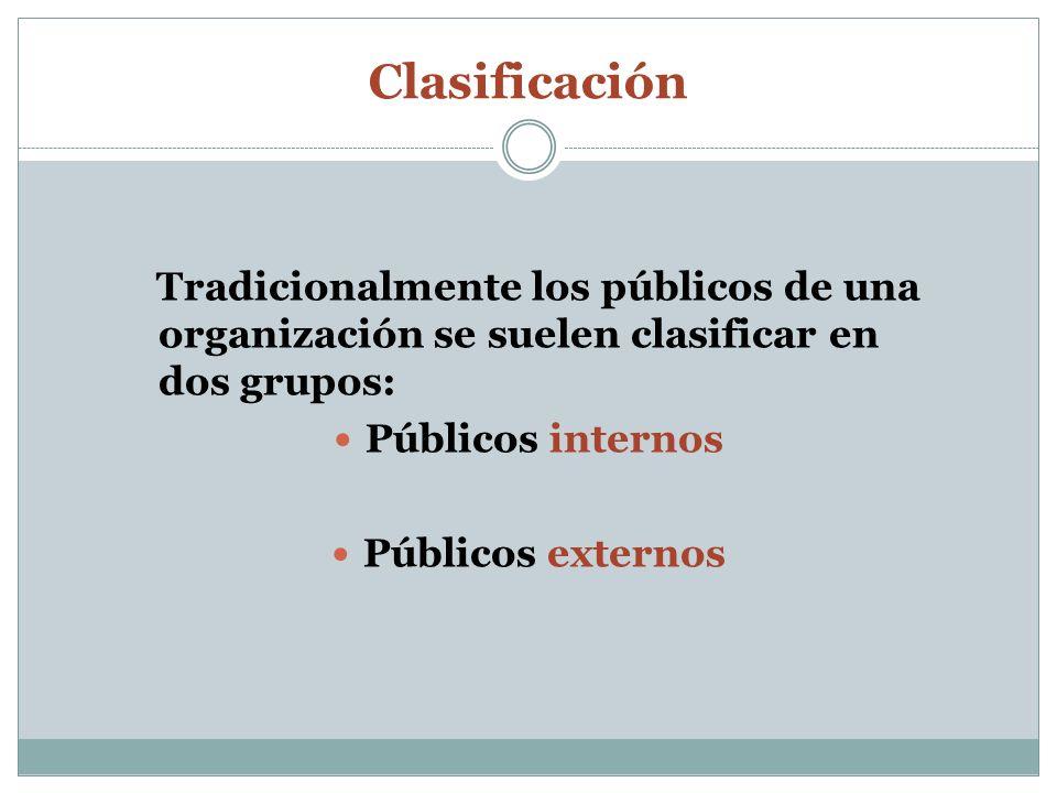 ClasificaciónTradicionalmente los públicos de una organización se suelen clasificar en dos grupos: Públicos internos.