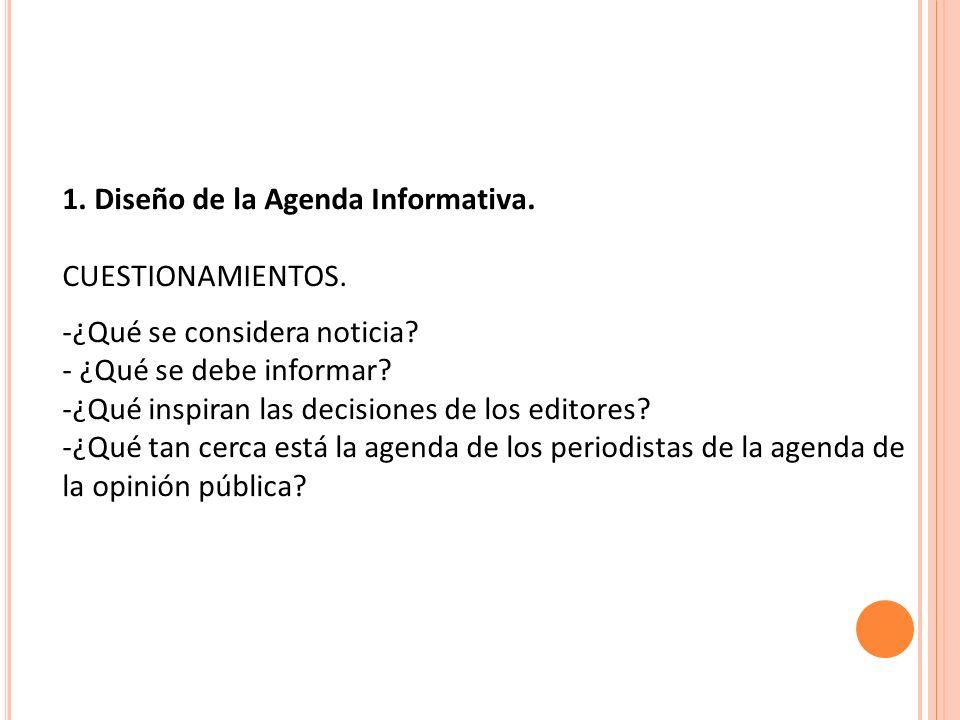 1. Diseño de la Agenda Informativa.