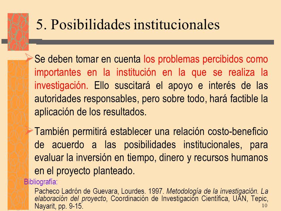 5. Posibilidades institucionales