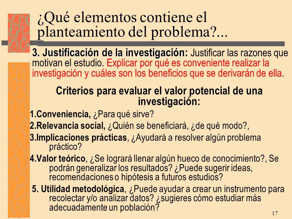 ¿Qué elementos contiene el planteamiento del problema ...