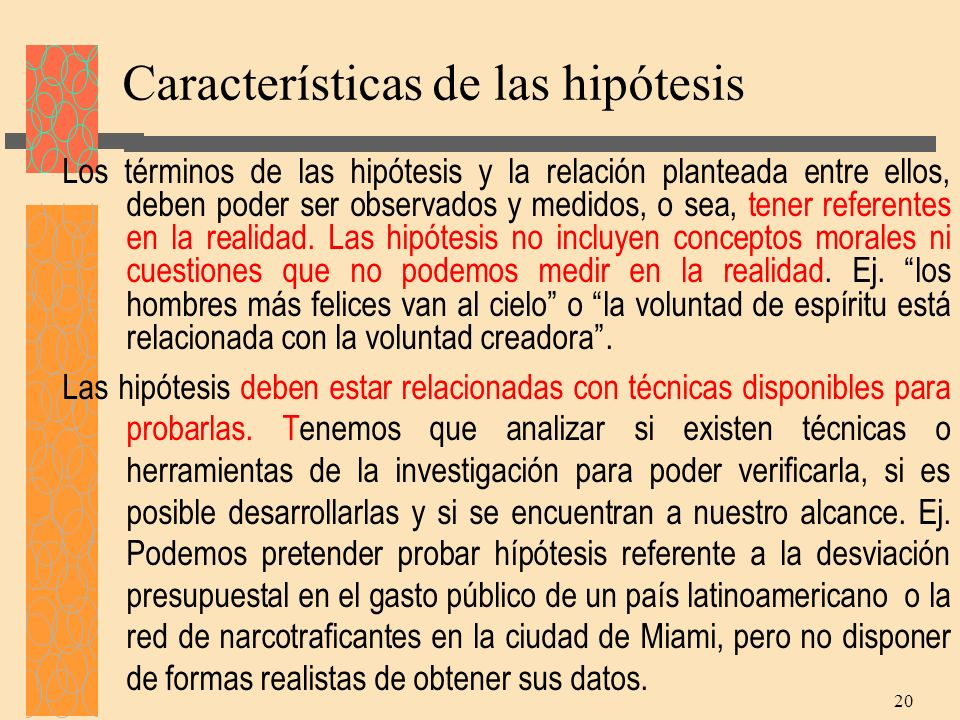 Características de las hipótesis