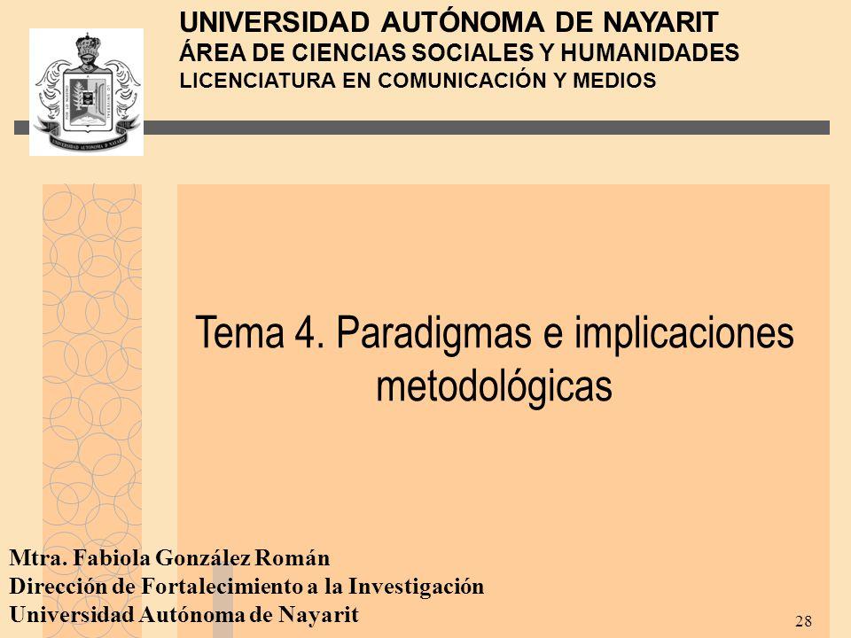 Tema 4. Paradigmas e implicaciones metodológicas