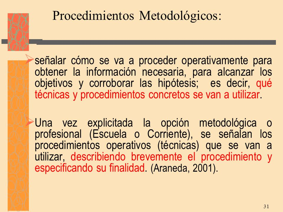 Procedimientos Metodológicos: