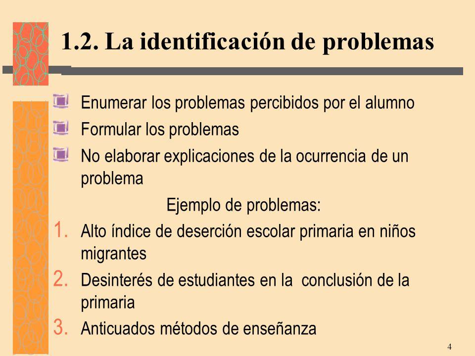 1.2. La identificación de problemas
