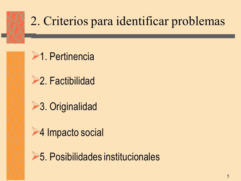 2. Criterios para identificar problemas
