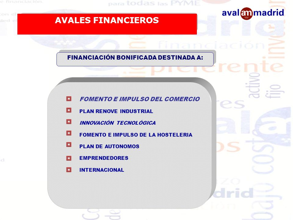 FINANCIACIÓN BONIFICADA DESTINADA A: