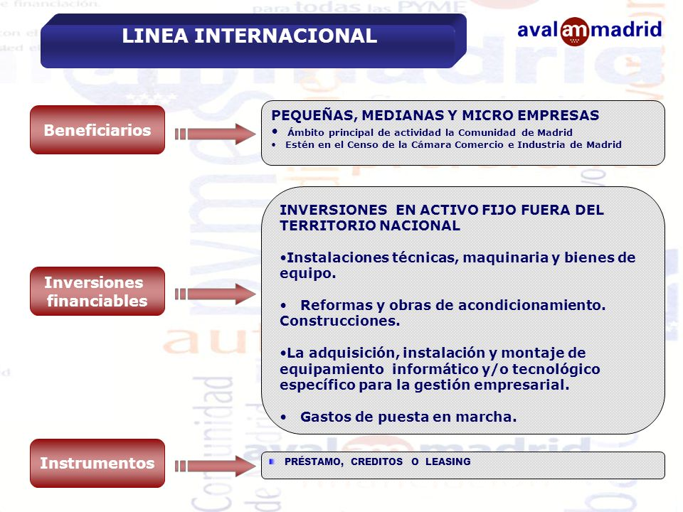 LINEA INTERNACIONAL Beneficiarios Inversiones financiables