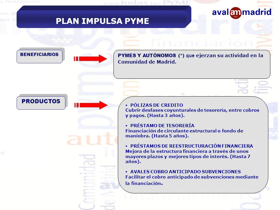 PLAN IMPULSA PYME PRODUCTOS
