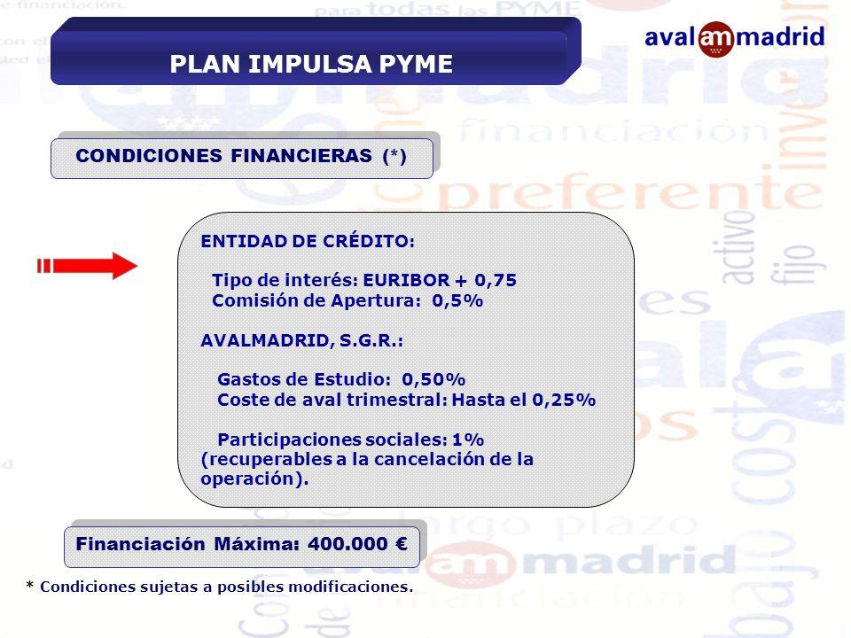 CONDICIONES FINANCIERAS (*) Financiación Máxima: 400.000 €