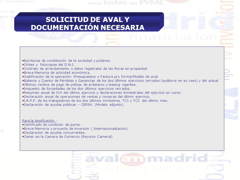 SOLICITUD DE AVAL Y DOCUMENTACIÓN NECESARIA
