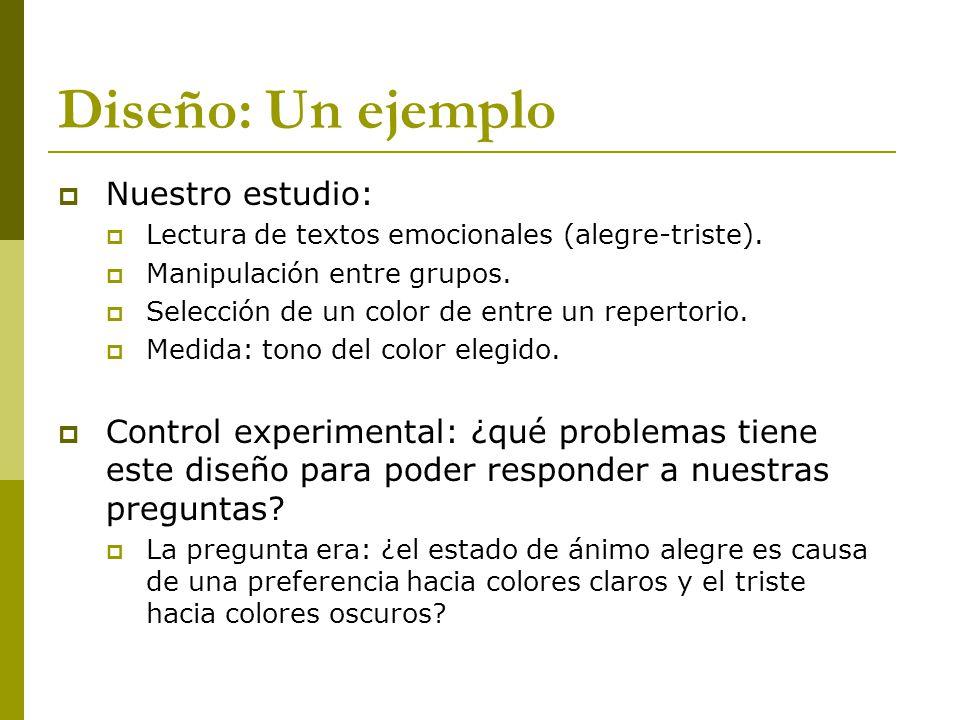 Diseño: Un ejemplo Nuestro estudio: