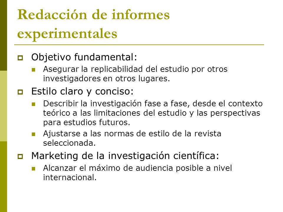 Redacción de informes experimentales