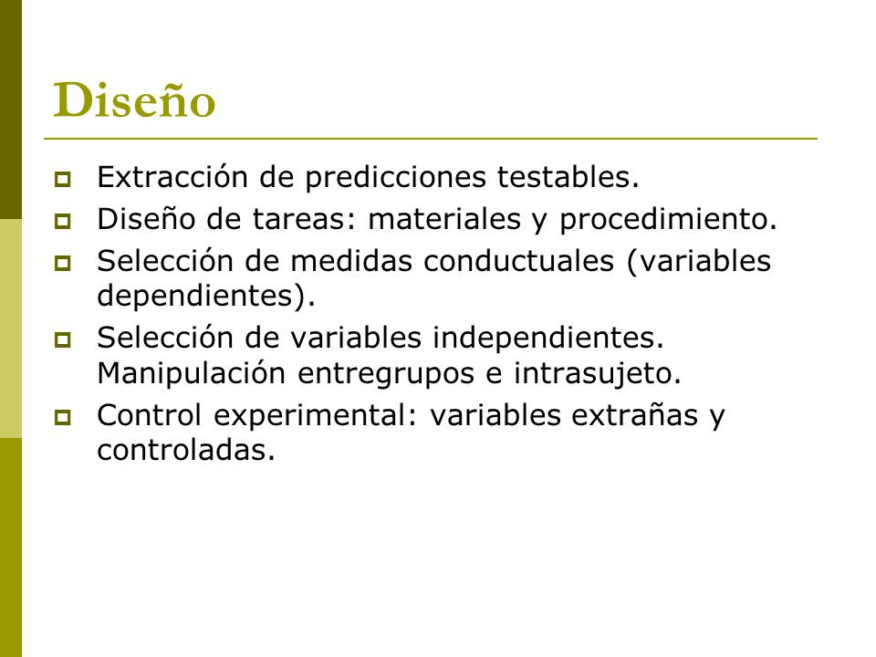 Diseño Extracción de predicciones testables.