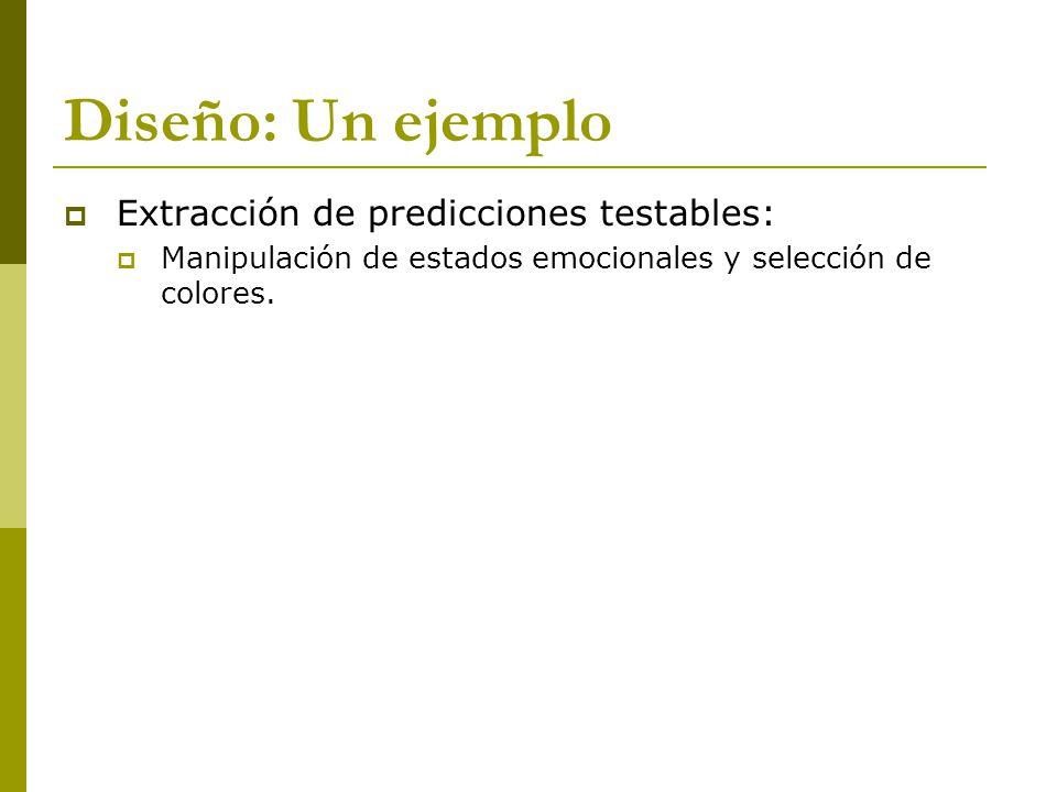 Diseño: Un ejemplo Extracción de predicciones testables: