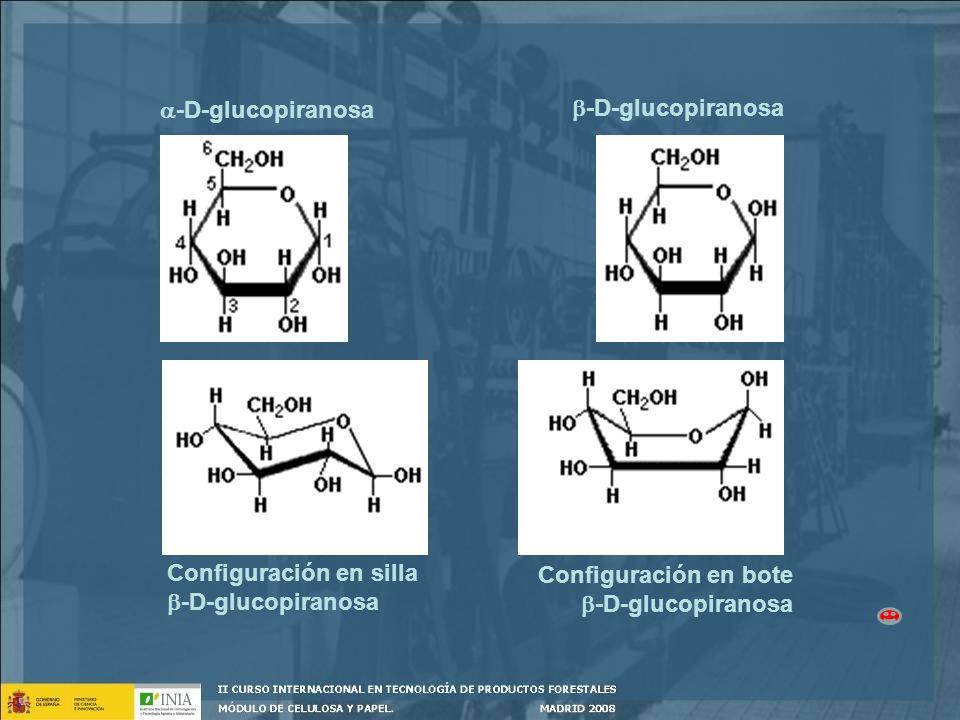 -D-glucopiranosa -D-glucopiranosa. Configuración en silla. -D-glucopiranosa. Configuración en bote.
