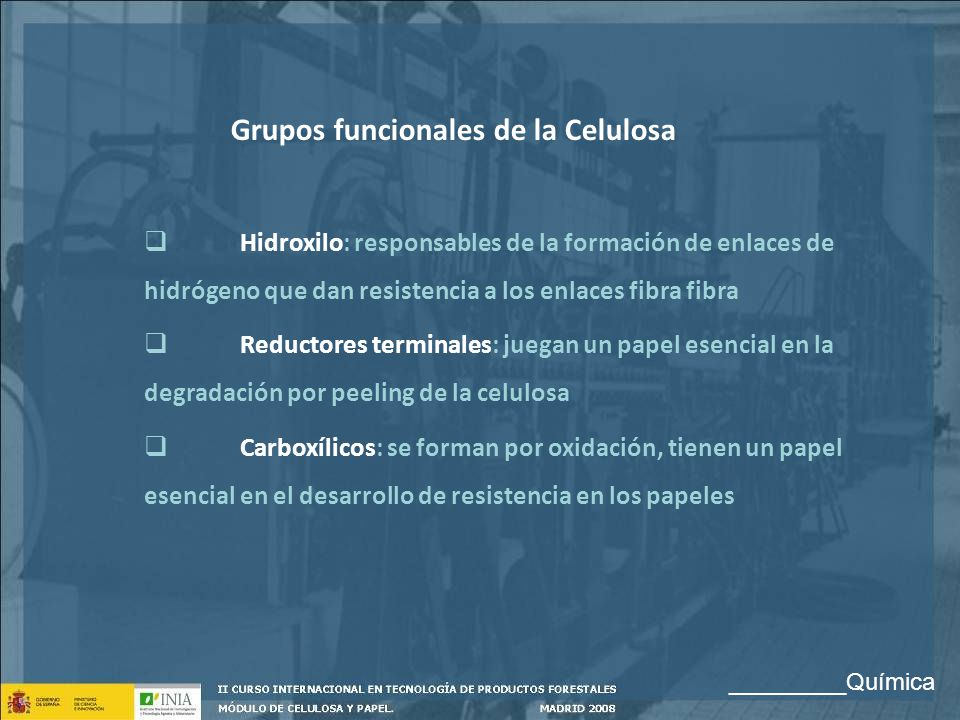 Grupos funcionales de la Celulosa