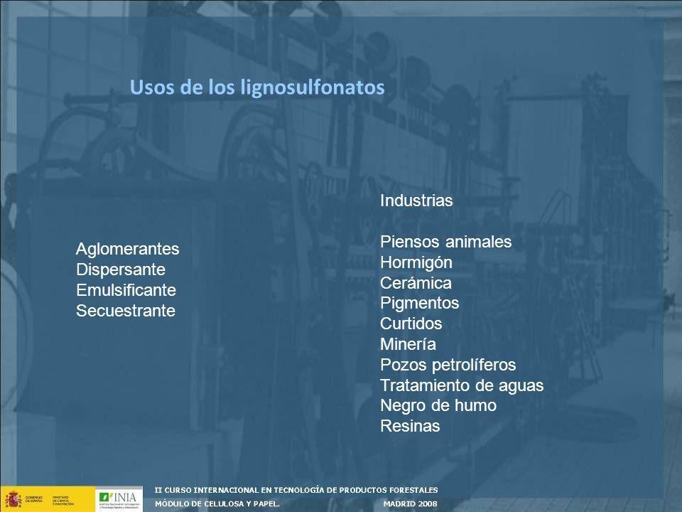 Usos de los lignosulfonatos