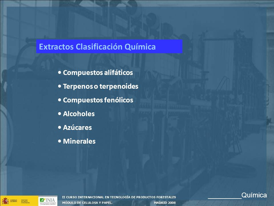 Extractos Clasificación Química