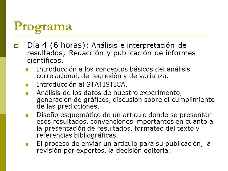 Programa Día 4 (6 horas): Análisis e interpretación de resultados; Redacción y publicación de informes científicos.