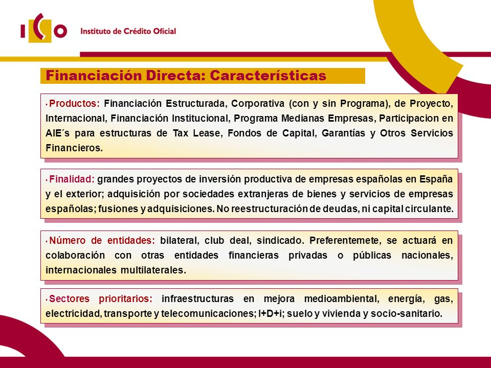 Financiación Directa: Características