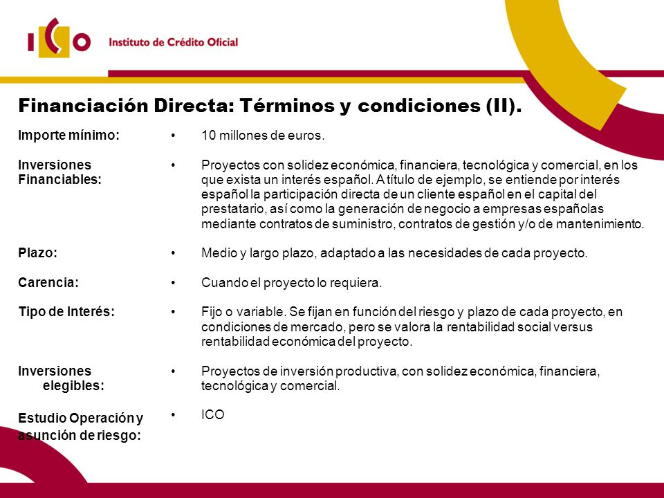 Financiación Directa: Términos y condiciones (II).