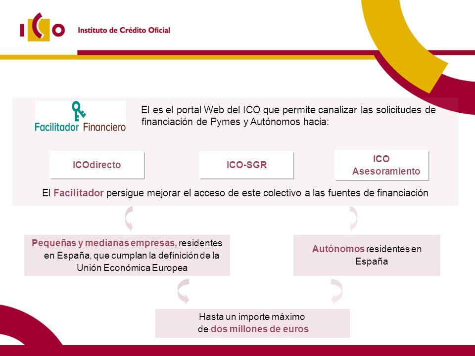 El es el portal Web del ICO que permite canalizar las solicitudes de financiación de Pymes y Autónomos hacia: