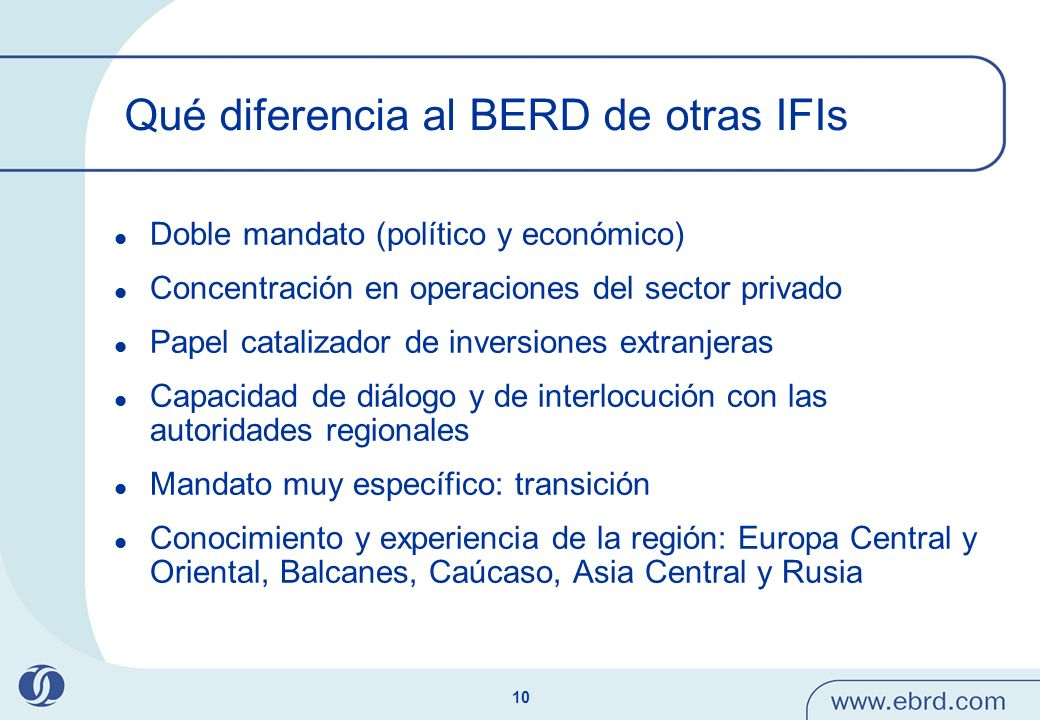 Qué diferencia al BERD de otras IFIs