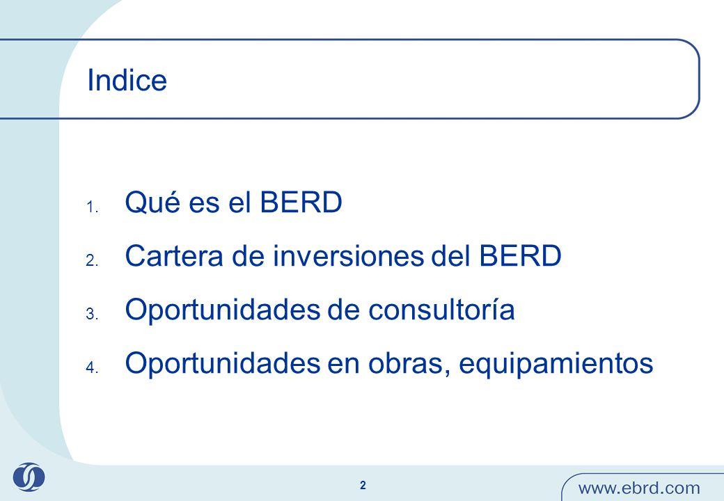 Indice Qué es el BERD Cartera de inversiones del BERD