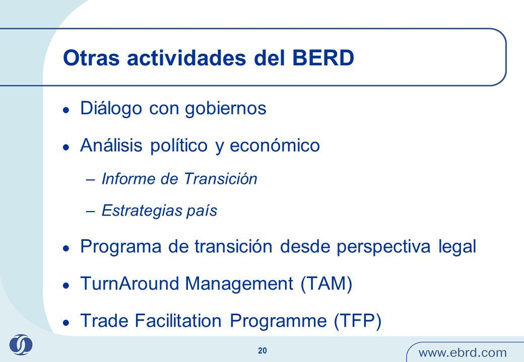 Otras actividades del BERD