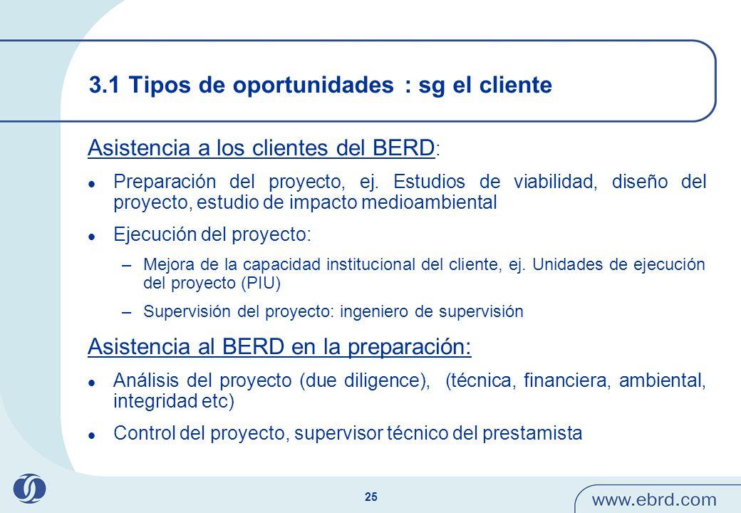 3.1 Tipos de oportunidades : sg el cliente