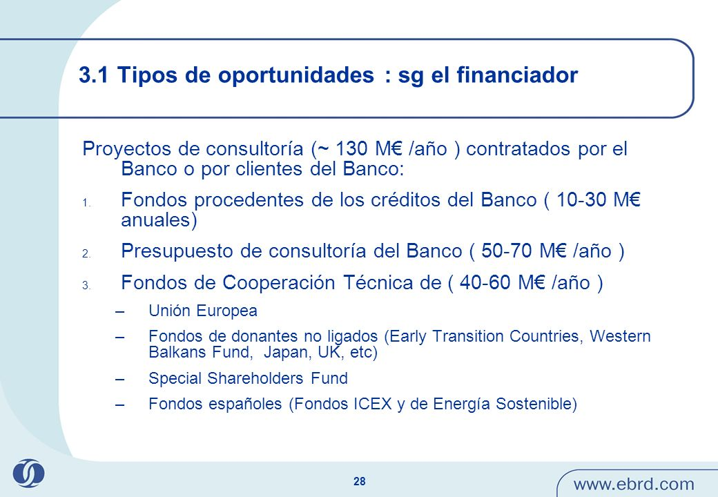 3.1 Tipos de oportunidades : sg el financiador