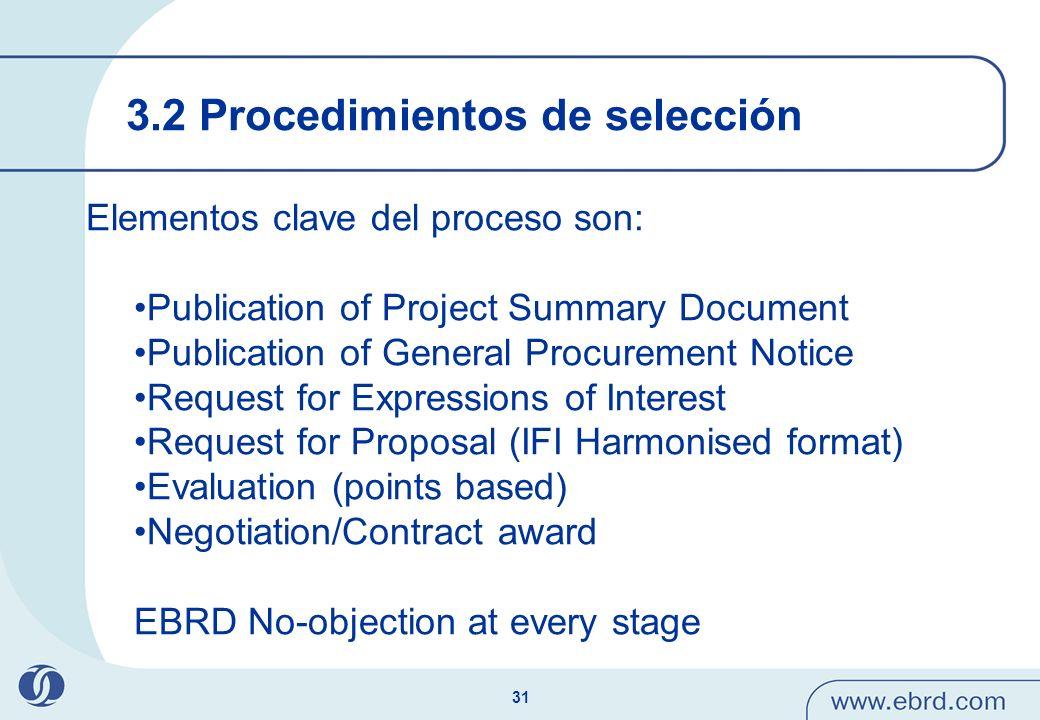 3.2 Procedimientos de selección
