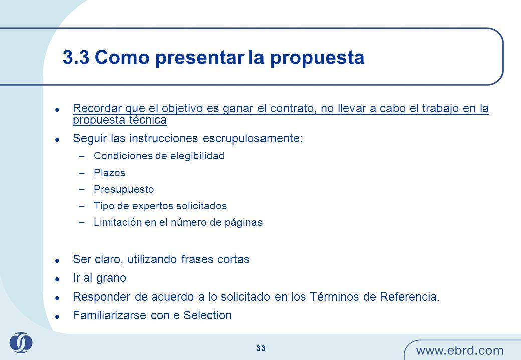 3.3 Como presentar la propuesta