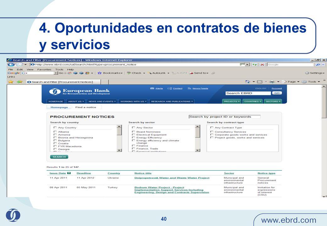 4. Oportunidades en contratos de bienes y servicios